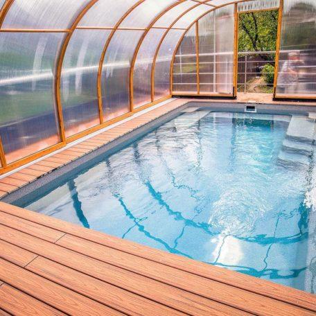 Небольшой композитный бассейн (5,83х3,48 м) X-Trainer 58 | Цвет Smokey Quartz