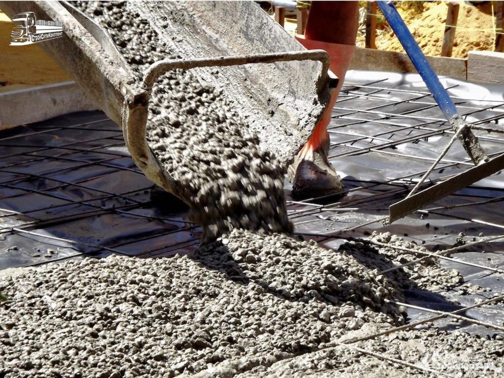 Прием бетона по лотку с миксера