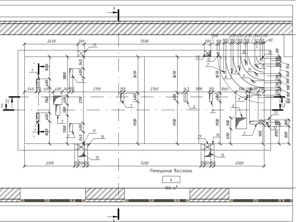 Схема расположения закладных элементов в чаше бассейна