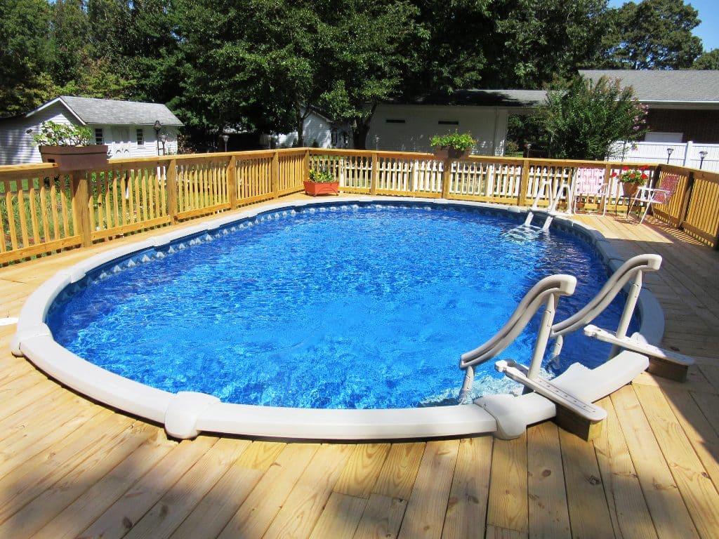 Сборный бассейн с террасой