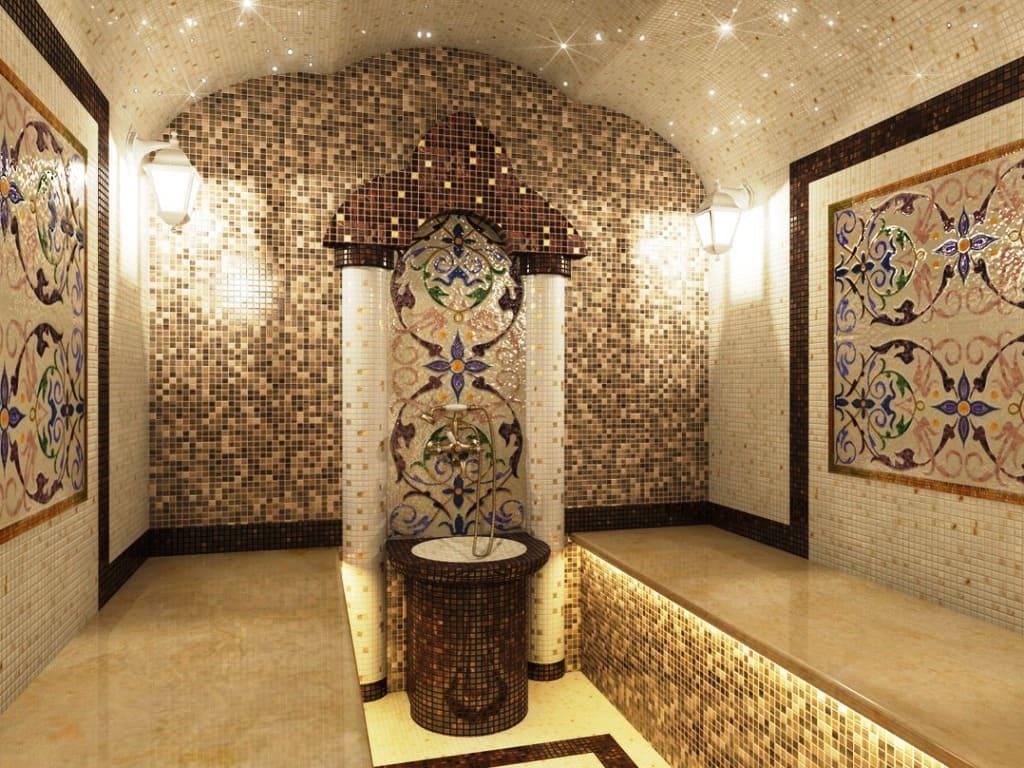 Хамам со звездным небом и сложной формой потолка