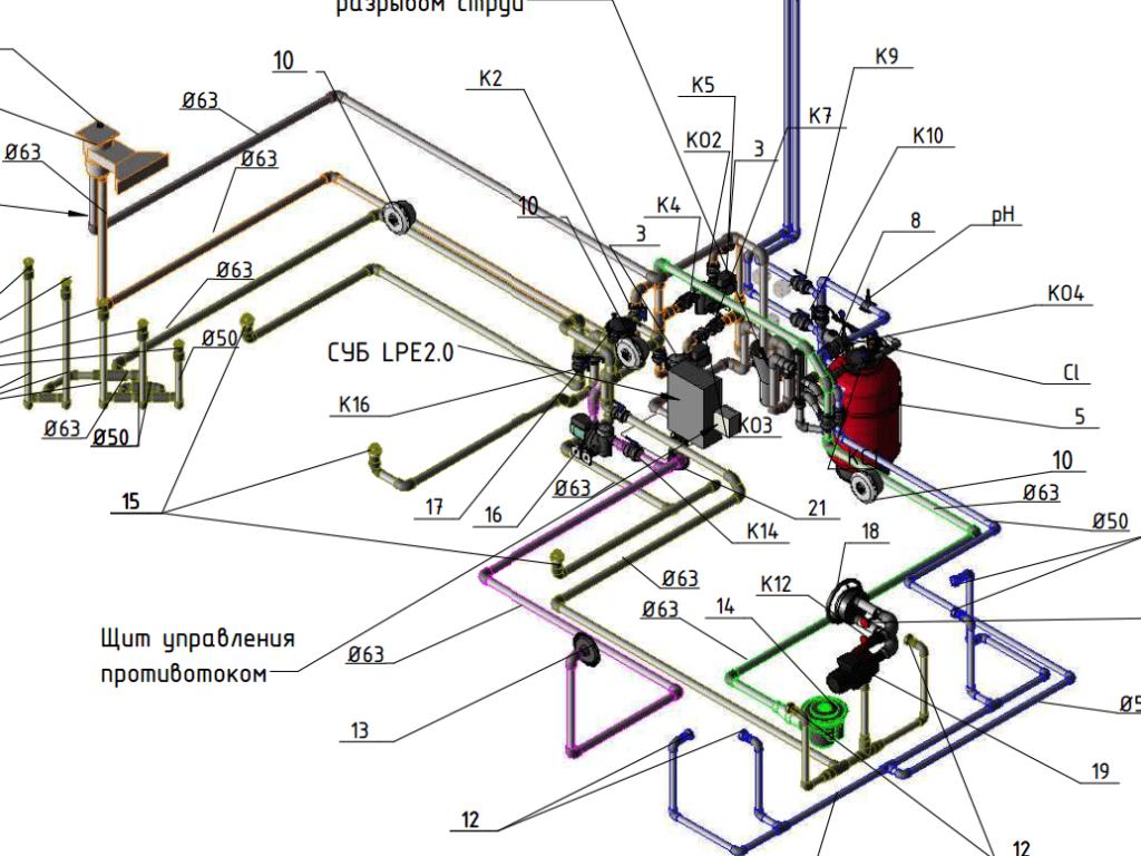 Аксонометрия оборудования и трубопровода бассейна