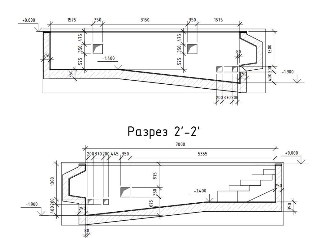Расположение ниш под оборудование в проекте бассейна