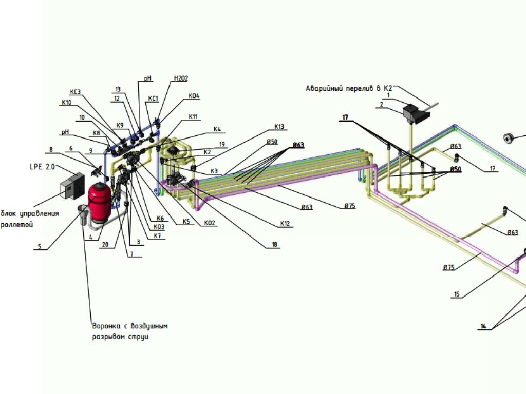 Аксонометрическая схема из проекта плавательного бассейна